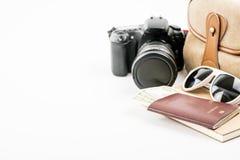 Accesorios y artículos del ` s del viajero en blanco Fotografía de archivo