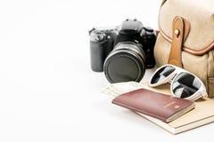 Accesorios y artículos del ` s del viajero en blanco Imagen de archivo