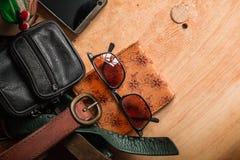 Accesorios y bolsos de cuero Foto de archivo libre de regalías