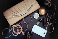 Accesorios y cosméticos femeninos Imagen de archivo