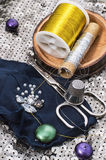 Accesorios y equipo de costura Fotografía de archivo libre de regalías