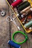 Accesorios y herramientas de costura Foto de archivo libre de regalías