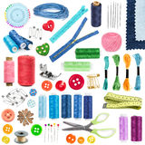 Accesorios y herramientas para coser Foto de archivo