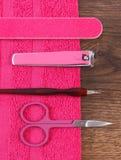 Accesorios y herramientas para la manicura o la pedicura, concepto de cuidado del clavo Foto de archivo libre de regalías