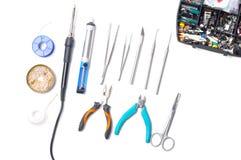 Accesorios y herramientas para soldar Imágenes de archivo libres de regalías
