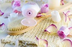 Accesorios y preparaciones del baño Foto de archivo