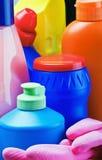 Accesorios y productos para la limpieza Imagen de archivo libre de regalías