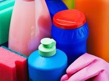 Accesorios y productos para la limpieza Imagenes de archivo