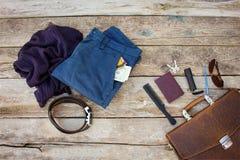 Accesorios y ropa de los hombres Foto de archivo libre de regalías