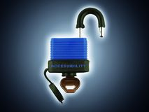 Access Backlight. Padlock with accessibility text. Complete wt clipping mask Royalty Free Stock Photography