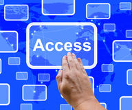 Access Button Over Map Showing Permission And Security royalty free illustration