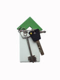 Access card and keys on white background Royalty Free Stock Photography