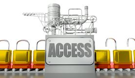 Access concept, open and closed padlocks Stock Images