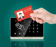 Access control - Proximity card and reader. Proximity reader with RFID card in hand Royalty Free Stock Images