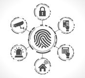Access control system - Fingerprint. Security concept Stock Photos