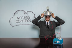 Access Control text with vintage businessman. And machine at office Stock Photography