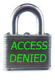 Access Denied. Isolated pad lock with ACCESS DENIED text Stock Images