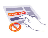 Access denied. Hand tapping touchable screen, trying to get access Stock Photography
