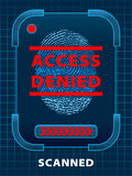 Access Denied. Digital finger-print scanning. Access Denied Stock Photography
