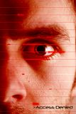 Access Denied. An iris scan concept image of a male with a few days beard growth (in techno red color) with the words 'Access Denied Stock Image