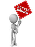 Access denied. Banner held up by little man on white background Stock Photography