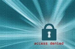 Access denied closed padlock with binary code Stock Image