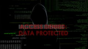 Access denied data protected, unsuccessful hacking attempt on server, failure. Stock footage stock video footage