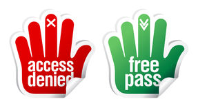 Access denied and free pass stickers Royalty Free Stock Images