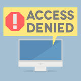 Access denied. Minimalistic illustration of a monitor with an access denied speech bubble Royalty Free Stock Image