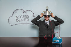 Access Denied text with vintage businessman. And machine at office Stock Photo