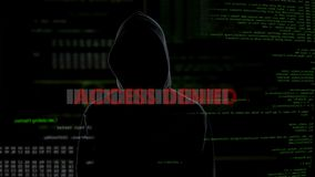 Access denied, unsuccessful hacking attempt on server, criminal gets furious. Stock footage stock video