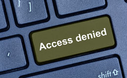 Access denied words on computer keyboard. Button Royalty Free Stock Photo