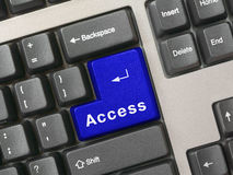 access det blåa key tangentbordet arkivfoto