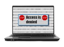 access det förnekade anteckningsbokmeddelandet Arkivfoton