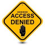access det förnekade tecknet Arkivfoton