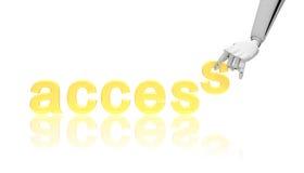 access det robotic ordet för affärsidéhanden Royaltyfri Bild