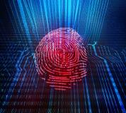 Access et analyse de données de sécurité pour l'identification biométrique humaine Vérification rouge d'empreinte digitale de mac illustration libre de droits