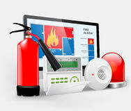 Access - fire alarm. Security system, Alarm zones, Security Royalty Free Stock Photo