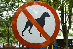 Access forbidden dogs sign. From a playground Stock Images