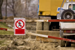 Access forbidden sign at a construction site Stock Photo