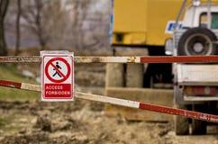 Access forbidden sign near a construction site Stock Photo