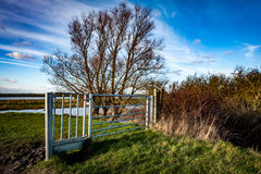 Access gate and style. Vehicular gate and pedestrian access on public right of way through fenland; made of galvanised steel Royalty Free Stock Photography