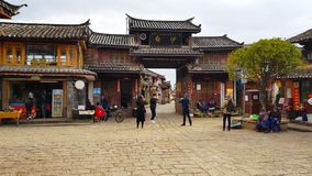 Access gate of the village of Baisha, Lijiang, Yunnan, China stock photo