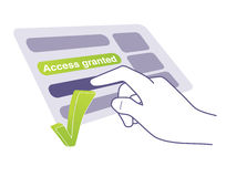 Access granted. Hand tapping touchable screen and taking access Stock Photos