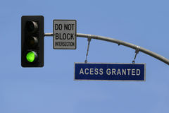 Access granted. A traffic sign tells 'access granted Stock Photos