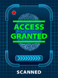 Access Granted. Digital finger-print scanning. Access Granted Royalty Free Stock Images