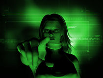 Access granted. 3d Rendering of a woman hitting the enter touch screen Stock Images