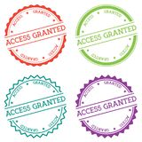 Access granted badge isolated on white background. Flat style round label with text. Circular emblem vector illustration Stock Photos