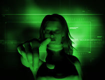 Access granted (blur). 3d Rendering of a woman hitting the enter touch screen (focus on fingers Stock Photos
