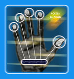 Access granted or denied. An image of a hand scan to see if access is granted or denied to a restricted area royalty free illustration